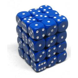 Set de 36 dés 6 faces 12 mm bleu/blanc