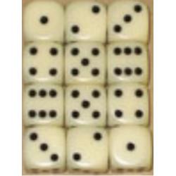 Set de 36 dés 6 faces 12 mm ivoire/noir