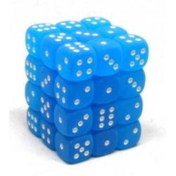 Set de 36 dés 6 faces 12 mm bleu caraïbe/blanc