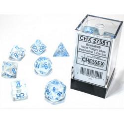 Set de 7 Dés Polyédriques Glacé/bleu clair
