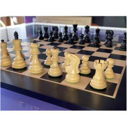 """Pièces échecs Russian """"Zagreb"""" buis/ébonisé n°3"""