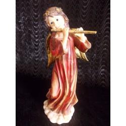 Figurine ange rouge musicienne avec flûte
