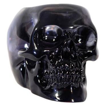 Figurine crâne cristal noir avec bougie