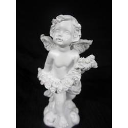 Figurine ange qui tient une guirlande de fleurs