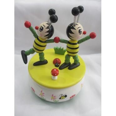 Boite à musique avec deux abeilles